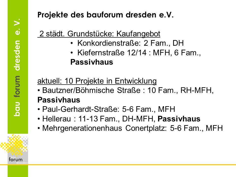 bau forum dresden e. V. Projekte des bauforum dresden e.V. 2 städt. Grundstücke: Kaufangebot Konkordienstraße: 2 Fam., DH Kiefernstraße 12/14 : MFH, 6