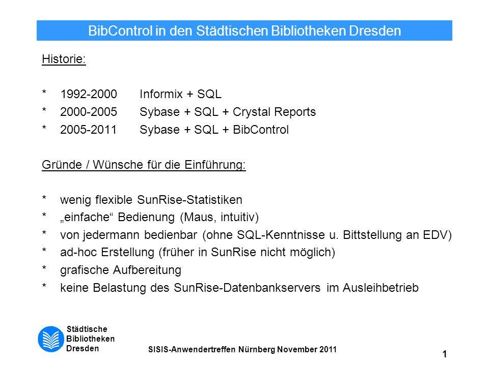 Städtische Bibliotheken Dresden SISIS-Anwendertreffen Nürnberg November 2011 1 BibControl in den Städtischen Bibliotheken Dresden Historie: *1992-2000