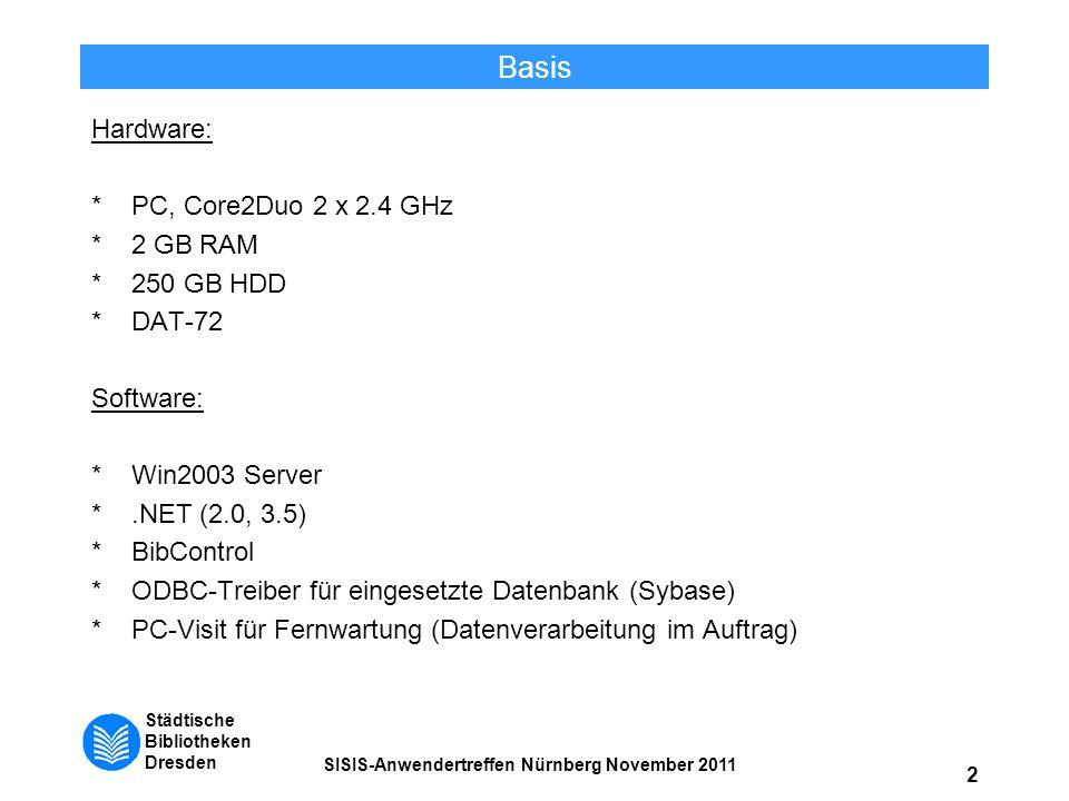 Städtische Bibliotheken Dresden SISIS-Anwendertreffen Nürnberg November 2011 2 Basis Hardware: *PC, Core2Duo 2 x 2.4 GHz *2 GB RAM *250 GB HDD *DAT-72
