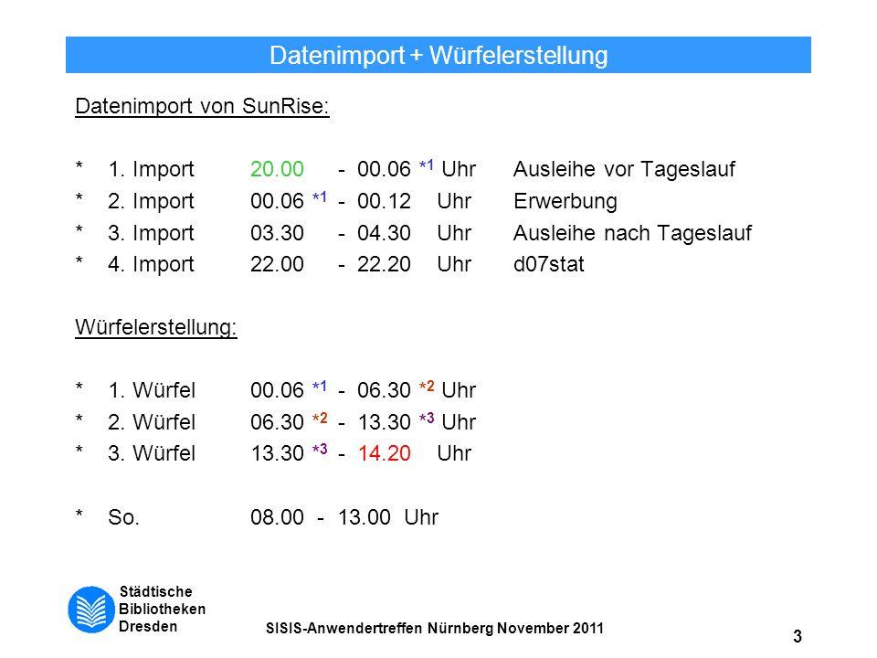 Städtische Bibliotheken Dresden SISIS-Anwendertreffen Nürnberg November 2011 3 Datenimport + Würfelerstellung Datenimport von SunRise: *1. Import20.00