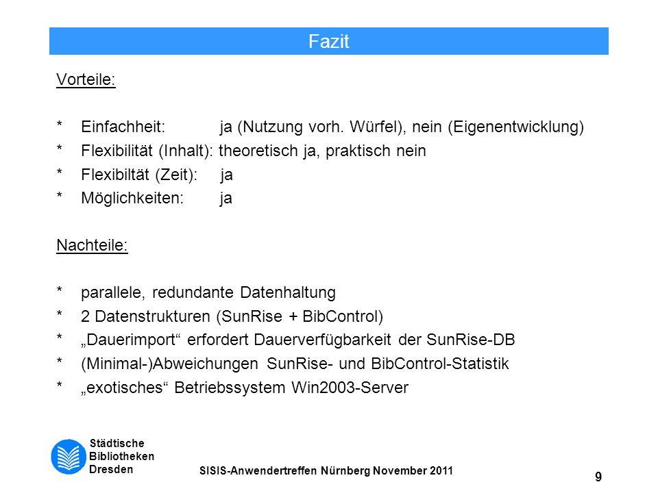 Städtische Bibliotheken Dresden SISIS-Anwendertreffen Nürnberg November 2011 9 Fazit Vorteile: *Einfachheit: ja (Nutzung vorh. Würfel), nein (Eigenent