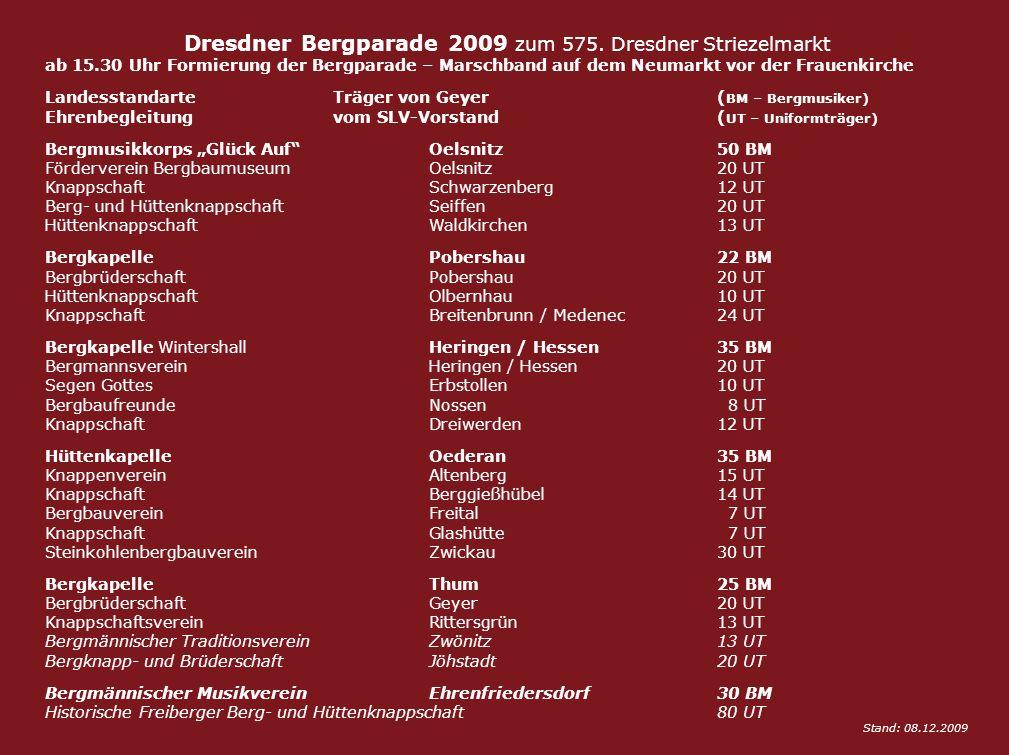 Dresdner Bergparade 2009 zum 575. Dresdner Striezelmarkt ab 15.30 Uhr Formierung der Bergparade – Marschband auf dem Neumarkt vor der Frauenkirche Lan