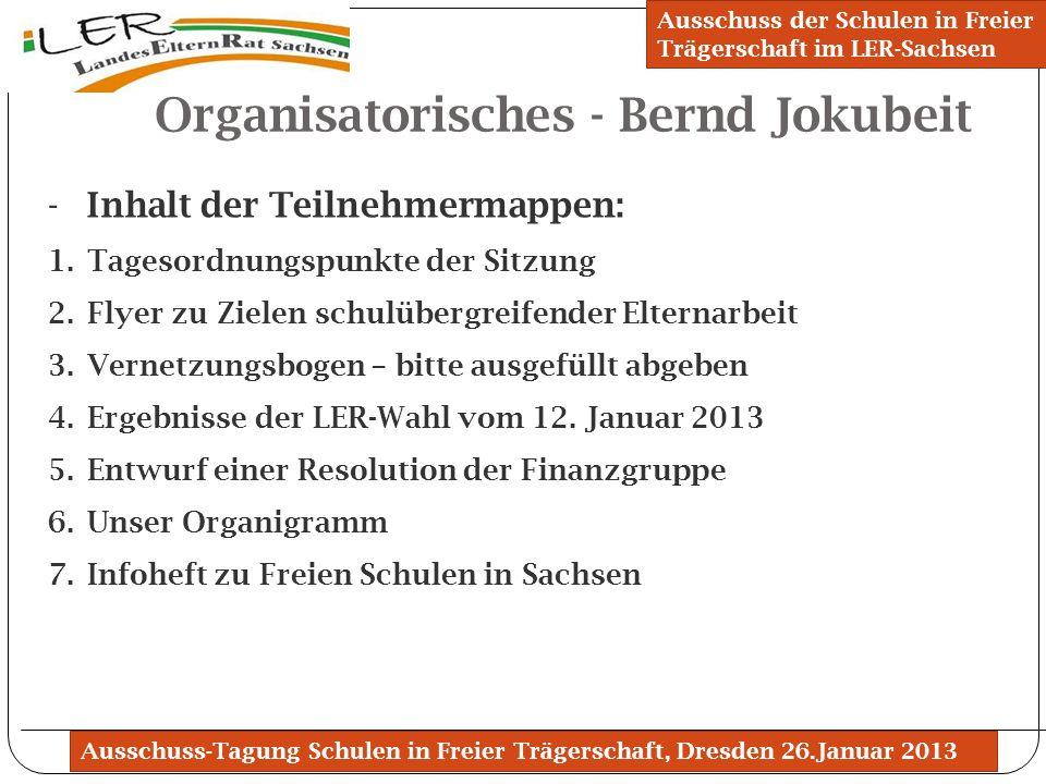 Ausschuss-Tagung Schulen in Freier Trägerschaft, Dresden 26.Januar 2013 Organisatorisches - Bernd Jokubeit Ausschuss der Schulen in Freier Trägerschaf