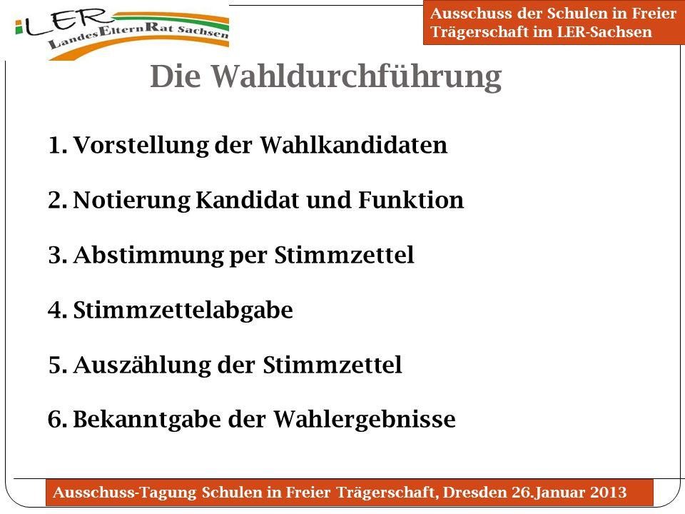 Ausschuss-Tagung Schulen in Freier Trägerschaft, Dresden 26.Januar 2013 Die Wahldurchführung Ausschuss der Schulen in Freier Trägerschaft im LER-Sachs