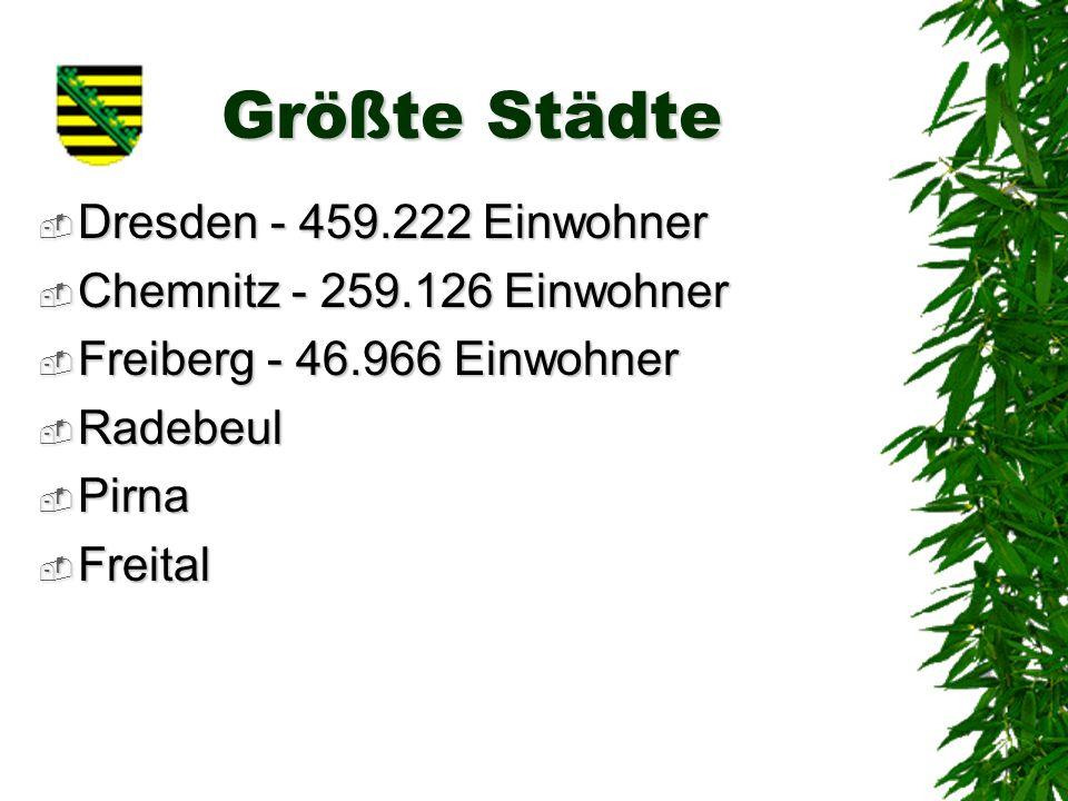 Größte Städte Dresden - 459.222 Einwohner Dresden - 459.222 Einwohner Chemnitz - 259.126 Einwohner Chemnitz - 259.126 Einwohner Freiberg - 46.966 Einwohner Freiberg - 46.966 Einwohner Radebeul Radebeul Pirna Pirna Freital Freital