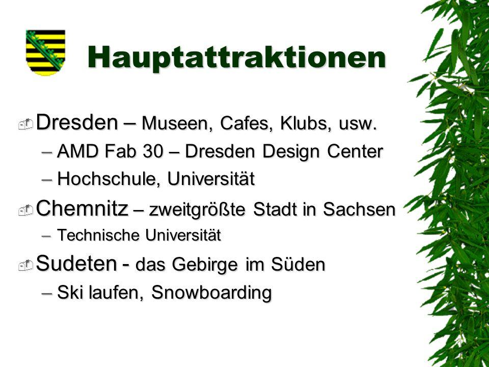 Hauptattraktionen Dresden – Museen, Cafes, Klubs, usw.