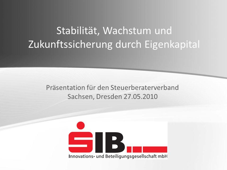 Stabilität, Wachstum und Zukunftssicherung durch Eigenkapital Präsentation für den Steuerberaterverband Sachsen, Dresden 27.05.2010