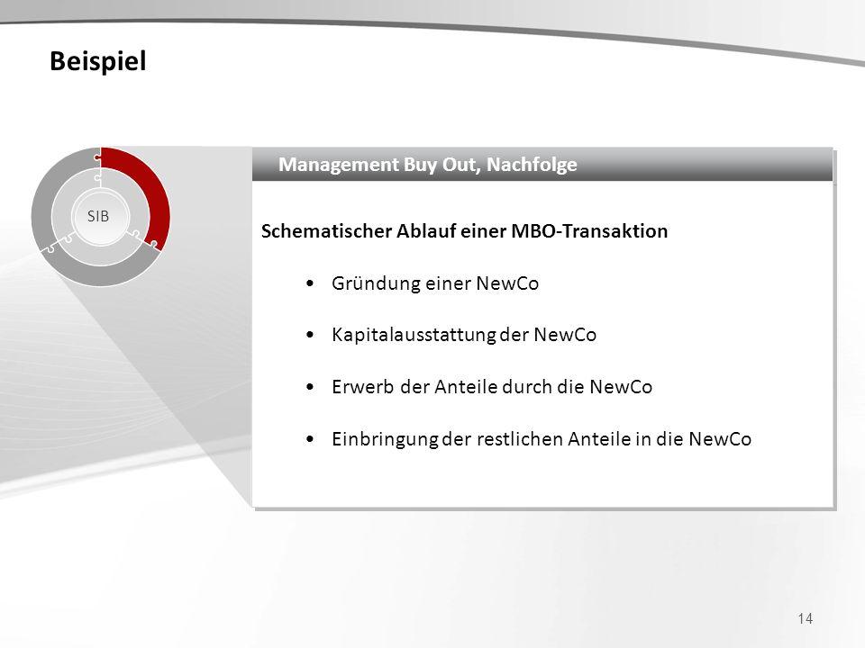 Beispiel 14 Management Buy Out, Nachfolge Schematischer Ablauf einer MBO-Transaktion Gründung einer NewCo Kapitalausstattung der NewCo Erwerb der Ante