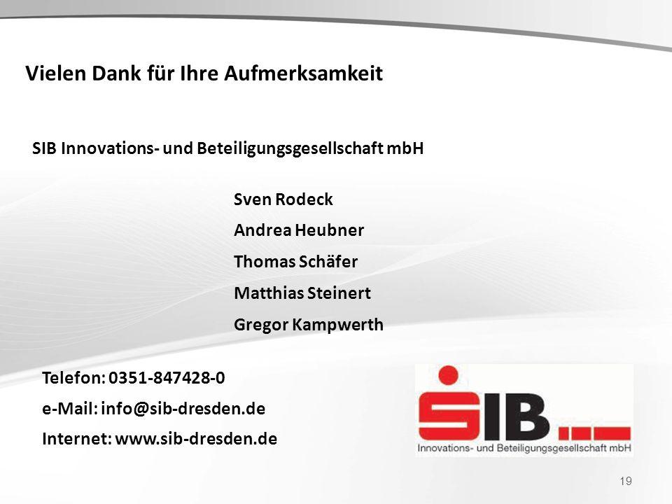 Vielen Dank für Ihre Aufmerksamkeit 19 SIB Innovations- und Beteiligungsgesellschaft mbH Sven Rodeck Andrea Heubner Thomas Schäfer Matthias Steinert G