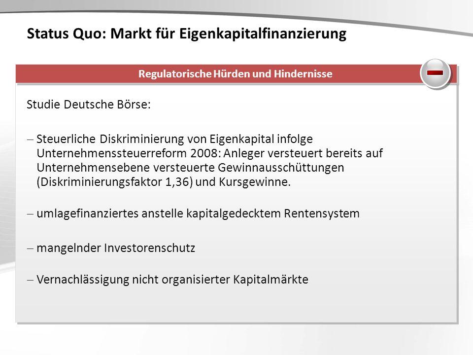 Status Quo: Markt für Eigenkapitalfinanzierung Studie Deutsche Börse: Steuerliche Diskriminierung von Eigenkapital infolge Unternehmenssteuerreform 20