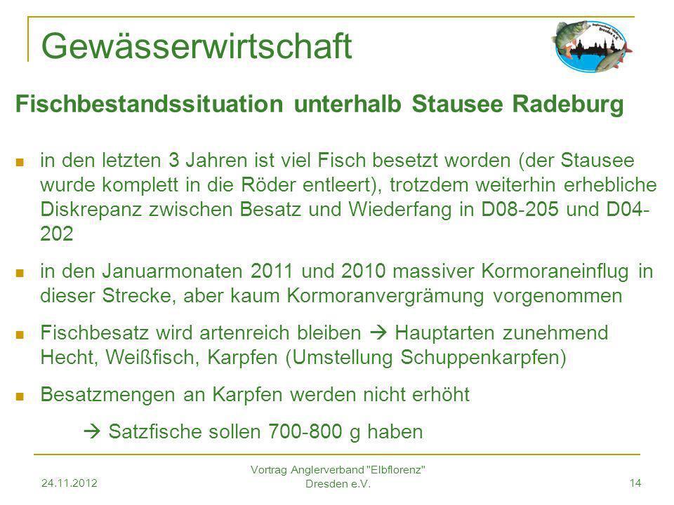 24.11.2012 Vortrag Anglerverband Elbflorenz Dresden e.V.14 Gewässerwirtschaft Fischbestandssituation unterhalb Stausee Radeburg in den letzten 3 Jahren ist viel Fisch besetzt worden (der Stausee wurde komplett in die Röder entleert), trotzdem weiterhin erhebliche Diskrepanz zwischen Besatz und Wiederfang in D08-205 und D04- 202 in den Januarmonaten 2011 und 2010 massiver Kormoraneinflug in dieser Strecke, aber kaum Kormoranvergrämung vorgenommen Fischbesatz wird artenreich bleiben Hauptarten zunehmend Hecht, Weißfisch, Karpfen (Umstellung Schuppenkarpfen) Besatzmengen an Karpfen werden nicht erhöht Satzfische sollen 700-800 g haben