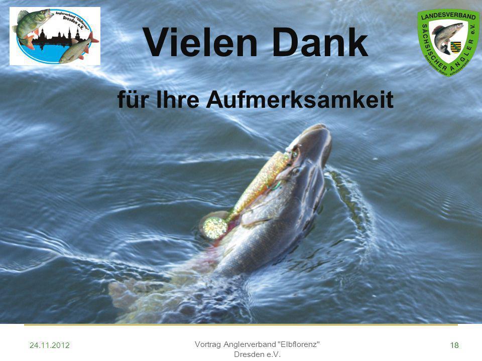18 Vielen Dank für Ihre Aufmerksamkeit Vortrag Anglerverband Elbflorenz Dresden e.V. 1824.11.2012