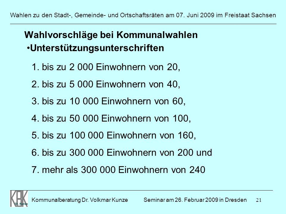 21 Wahlen zu den Stadt-, Gemeinde- und Ortschaftsräten am 07. Juni 2009 im Freistaat Sachsen Kommunalberatung Dr. Volkmar Kunze ______________________