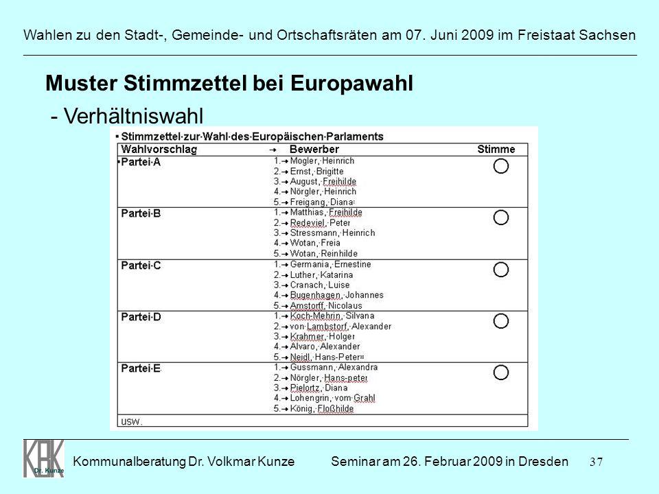 37 Wahlen zu den Stadt-, Gemeinde- und Ortschaftsräten am 07. Juni 2009 im Freistaat Sachsen Kommunalberatung Dr. Volkmar Kunze ______________________