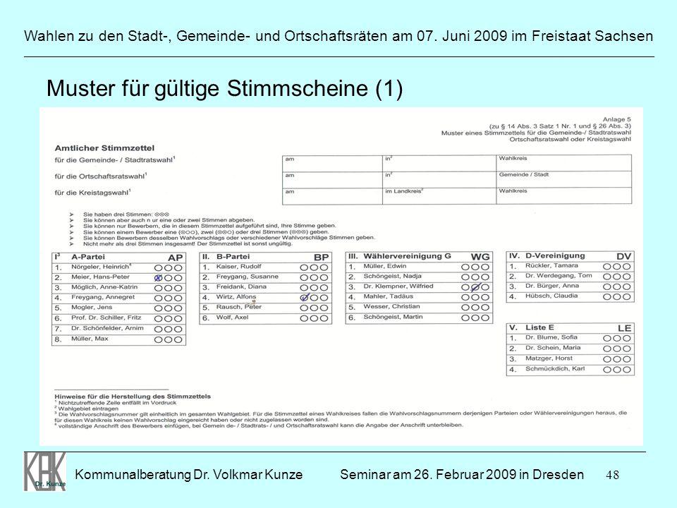 48 Wahlen zu den Stadt-, Gemeinde- und Ortschaftsräten am 07. Juni 2009 im Freistaat Sachsen Kommunalberatung Dr. Volkmar Kunze ______________________