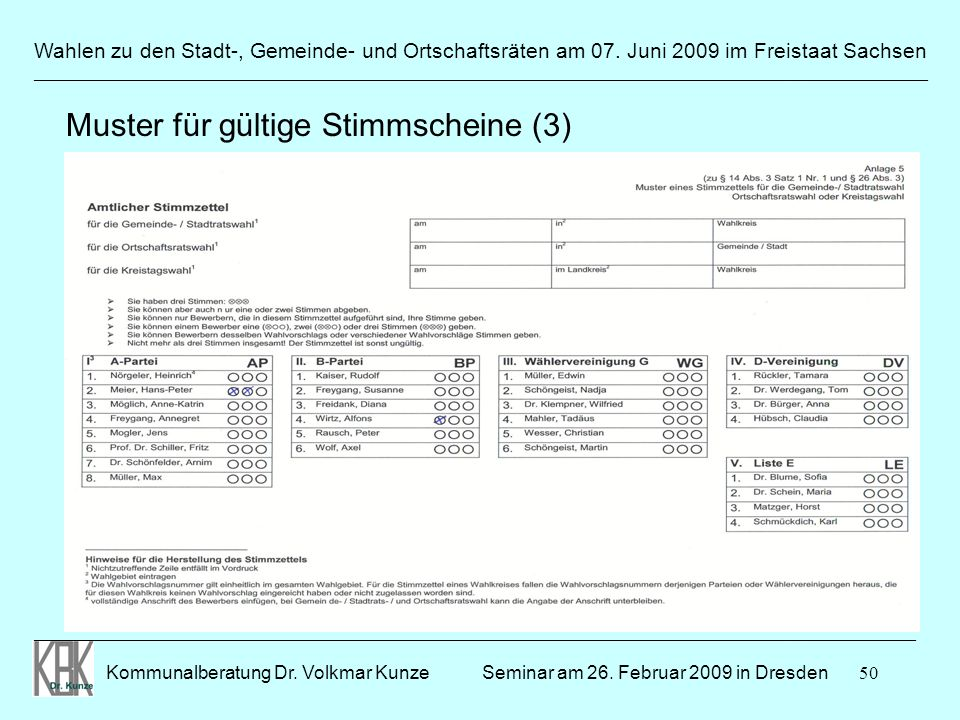 50 Wahlen zu den Stadt-, Gemeinde- und Ortschaftsräten am 07. Juni 2009 im Freistaat Sachsen Kommunalberatung Dr. Volkmar Kunze ______________________