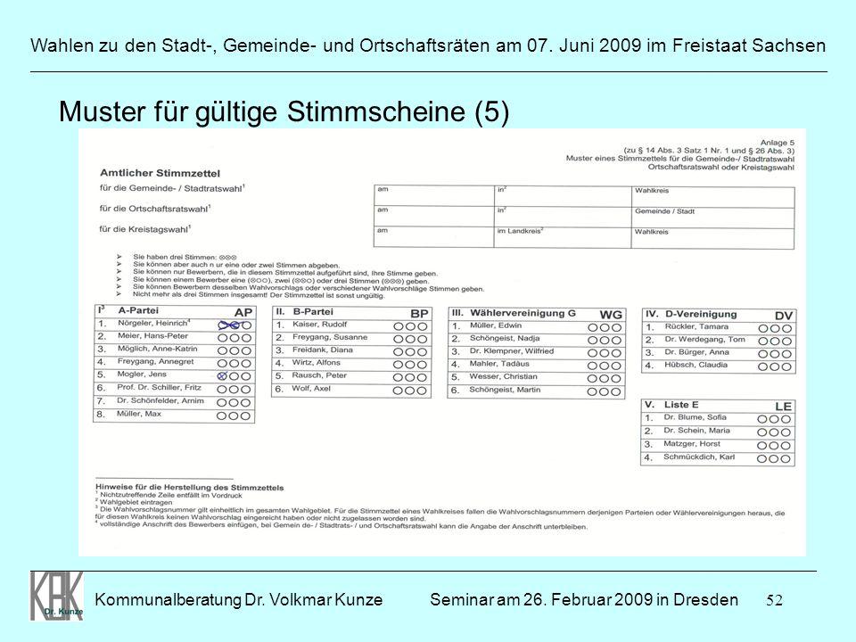 52 Wahlen zu den Stadt-, Gemeinde- und Ortschaftsräten am 07. Juni 2009 im Freistaat Sachsen Kommunalberatung Dr. Volkmar Kunze ______________________