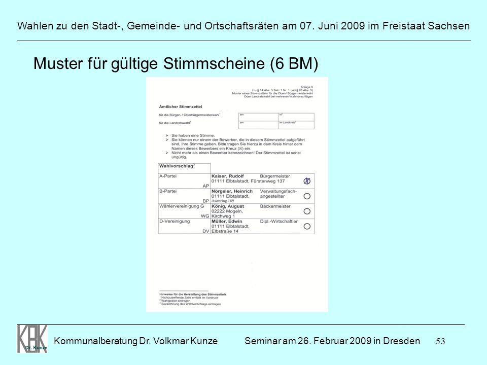 53 Wahlen zu den Stadt-, Gemeinde- und Ortschaftsräten am 07. Juni 2009 im Freistaat Sachsen Kommunalberatung Dr. Volkmar Kunze ______________________