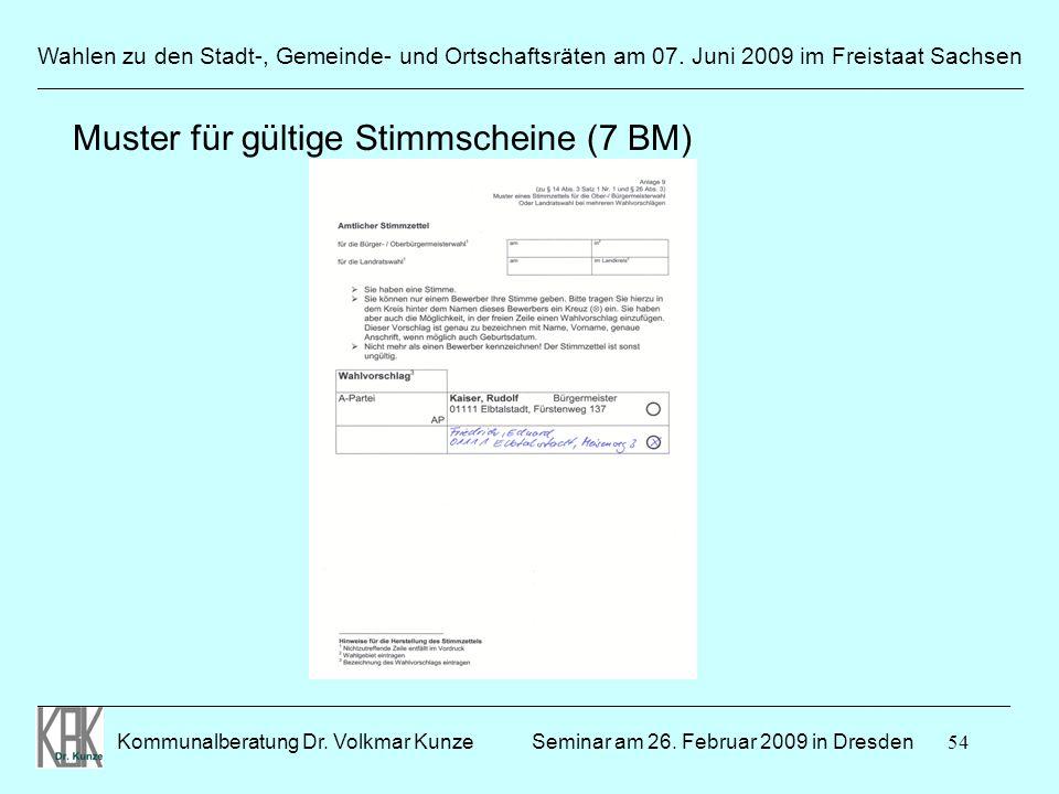 54 Wahlen zu den Stadt-, Gemeinde- und Ortschaftsräten am 07. Juni 2009 im Freistaat Sachsen Kommunalberatung Dr. Volkmar Kunze ______________________