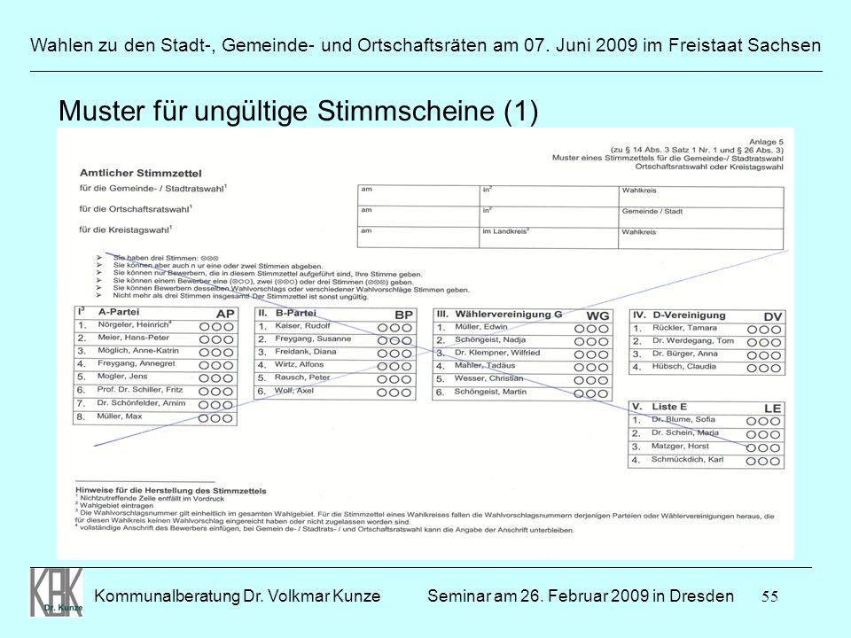 55 Wahlen zu den Stadt-, Gemeinde- und Ortschaftsräten am 07. Juni 2009 im Freistaat Sachsen Kommunalberatung Dr. Volkmar Kunze ______________________