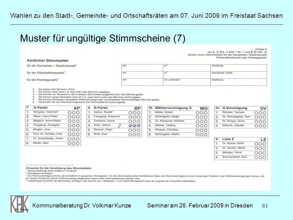 61 Wahlen zu den Stadt-, Gemeinde- und Ortschaftsräten am 07. Juni 2009 im Freistaat Sachsen Kommunalberatung Dr. Volkmar Kunze ______________________