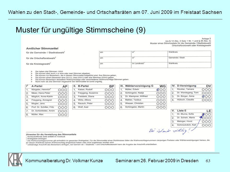 63 Wahlen zu den Stadt-, Gemeinde- und Ortschaftsräten am 07. Juni 2009 im Freistaat Sachsen Kommunalberatung Dr. Volkmar Kunze ______________________