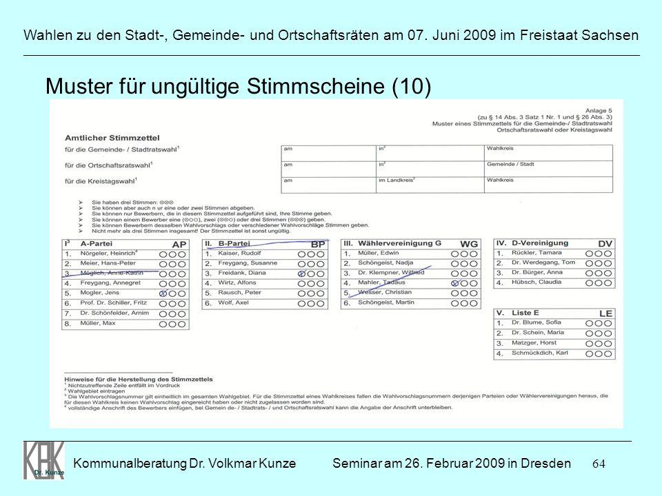64 Wahlen zu den Stadt-, Gemeinde- und Ortschaftsräten am 07. Juni 2009 im Freistaat Sachsen Kommunalberatung Dr. Volkmar Kunze ______________________