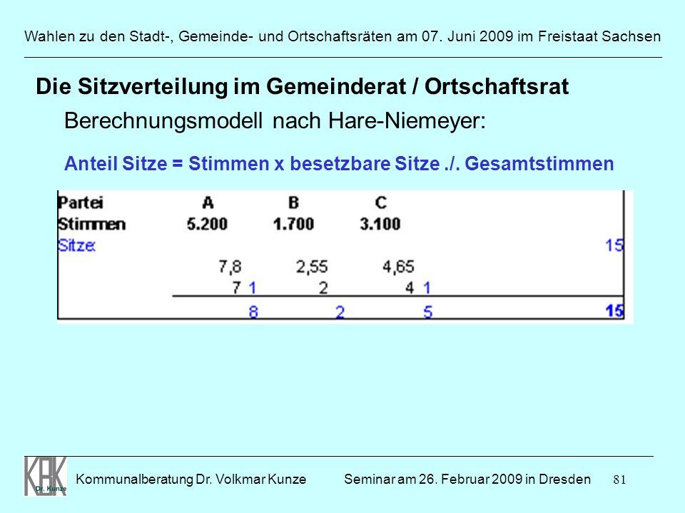 81 Wahlen zu den Stadt-, Gemeinde- und Ortschaftsräten am 07. Juni 2009 im Freistaat Sachsen Kommunalberatung Dr. Volkmar Kunze ______________________