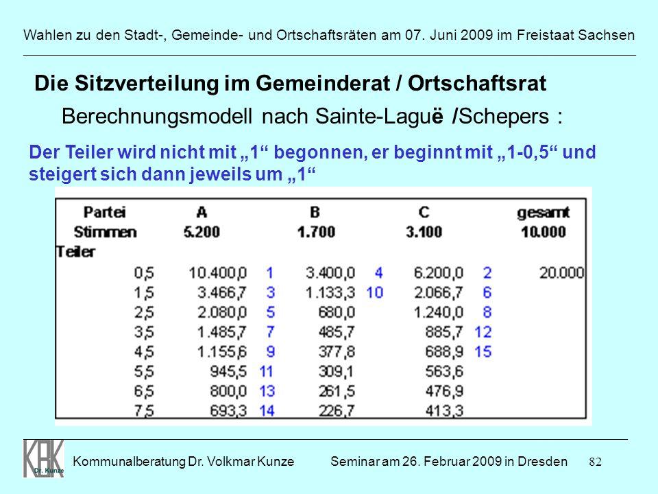 82 Wahlen zu den Stadt-, Gemeinde- und Ortschaftsräten am 07. Juni 2009 im Freistaat Sachsen Kommunalberatung Dr. Volkmar Kunze ______________________