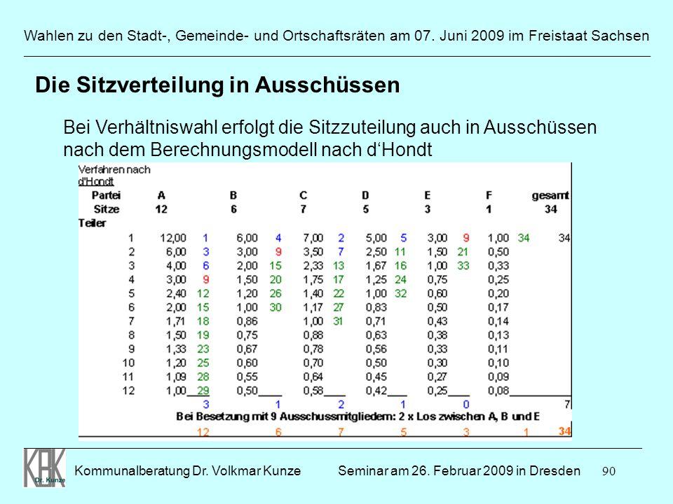 90 Wahlen zu den Stadt-, Gemeinde- und Ortschaftsräten am 07. Juni 2009 im Freistaat Sachsen Kommunalberatung Dr. Volkmar Kunze ______________________