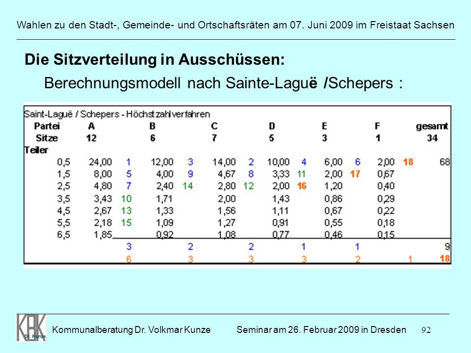92 Wahlen zu den Stadt-, Gemeinde- und Ortschaftsräten am 07. Juni 2009 im Freistaat Sachsen Kommunalberatung Dr. Volkmar Kunze ______________________
