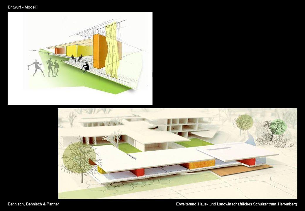 Entwurf - Modell Erweiterung Haus- und Landwirtschaftliches Schulzentrum HerrenbergBehnisch, Behnisch & Partner