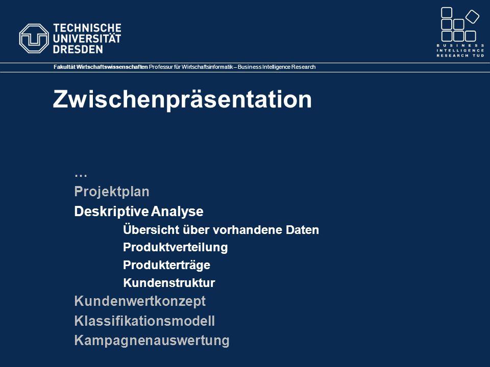 Fakultät Wirtschaftswissenschaften Professur für Wirtschaftsinformatik – Business Intelligence Research Zwischenpräsentation … Projektplan Deskriptive