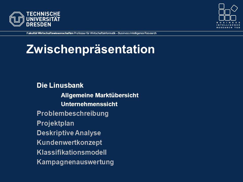 Fakultät Wirtschaftswissenschaften Professur für Wirtschaftsinformatik – Business Intelligence Research Zwischenpräsentation Die Linusbank Allgemeine