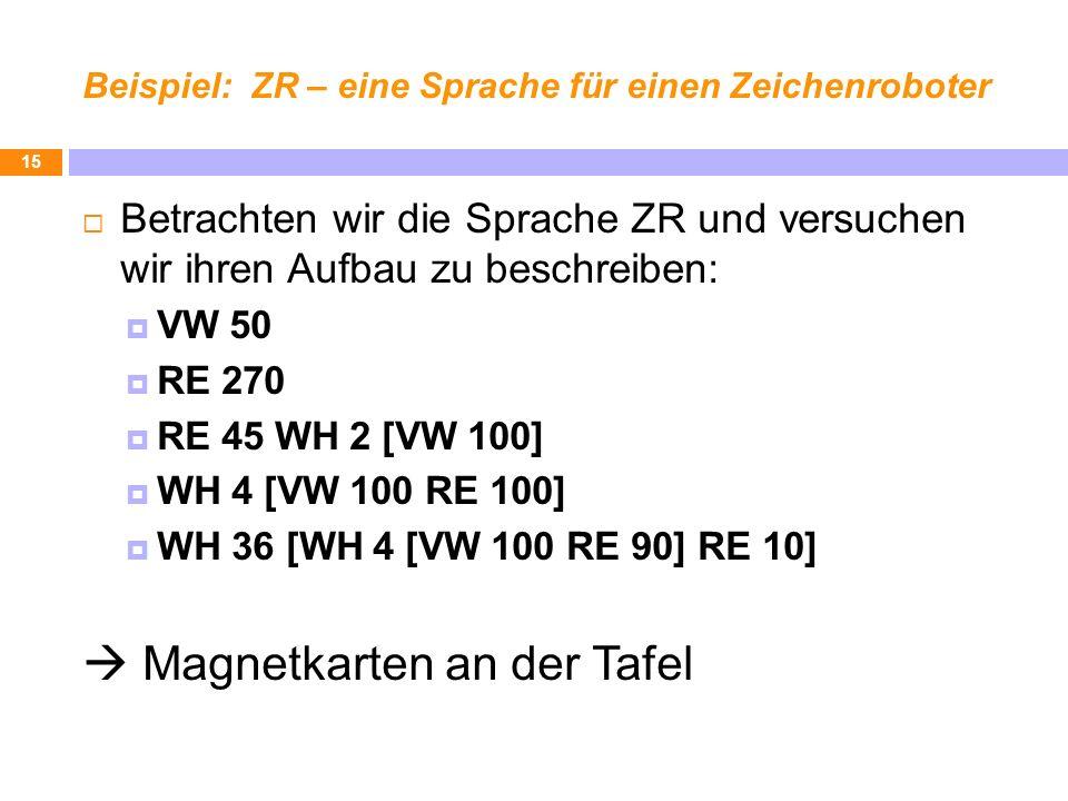 Beispiel: ZR – eine Sprache für einen Zeichenroboter Betrachten wir die Sprache ZR und versuchen wir ihren Aufbau zu beschreiben: VW 50 RE 270 RE 45 W