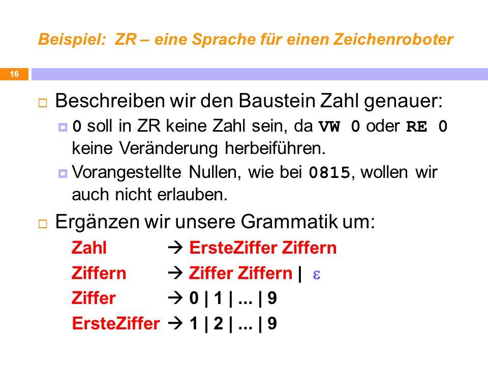 Beispiel: ZR – eine Sprache für einen Zeichenroboter Beschreiben wir den Baustein Zahl genauer: 0 soll in ZR keine Zahl sein, da VW 0 oder RE 0 keine Veränderung herbeiführen.