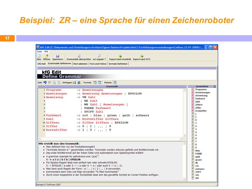 Beispiel: ZR – eine Sprache für einen Zeichenroboter 17