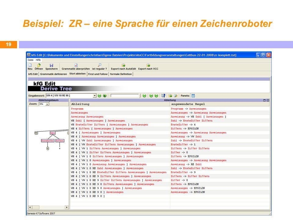 Beispiel: ZR – eine Sprache für einen Zeichenroboter 19