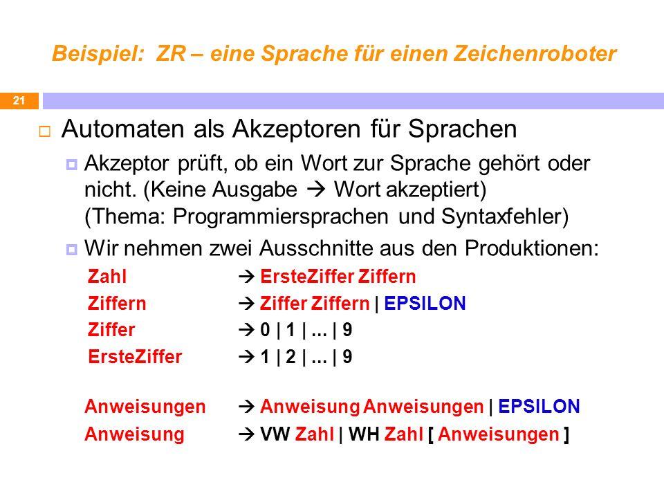Beispiel: ZR – eine Sprache für einen Zeichenroboter Automaten als Akzeptoren für Sprachen Akzeptor prüft, ob ein Wort zur Sprache gehört oder nicht.
