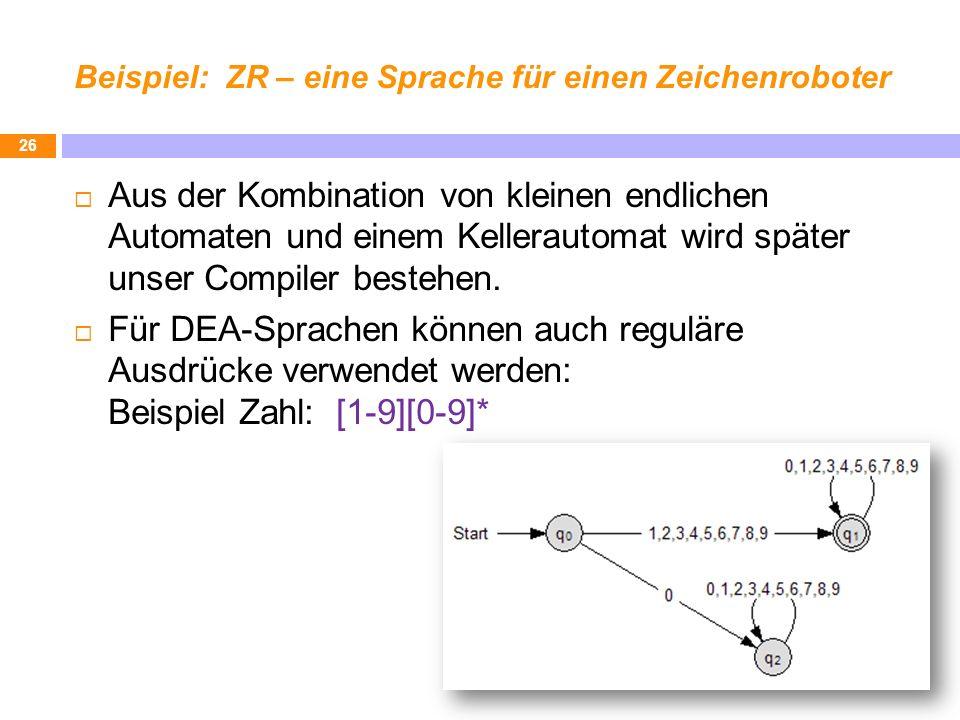 Beispiel: ZR – eine Sprache für einen Zeichenroboter Aus der Kombination von kleinen endlichen Automaten und einem Kellerautomat wird später unser Compiler bestehen.