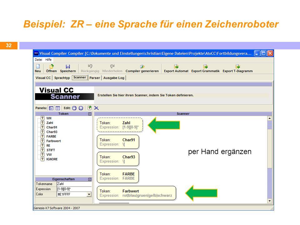 Beispiel: ZR – eine Sprache für einen Zeichenroboter 32 per Hand ergänzen