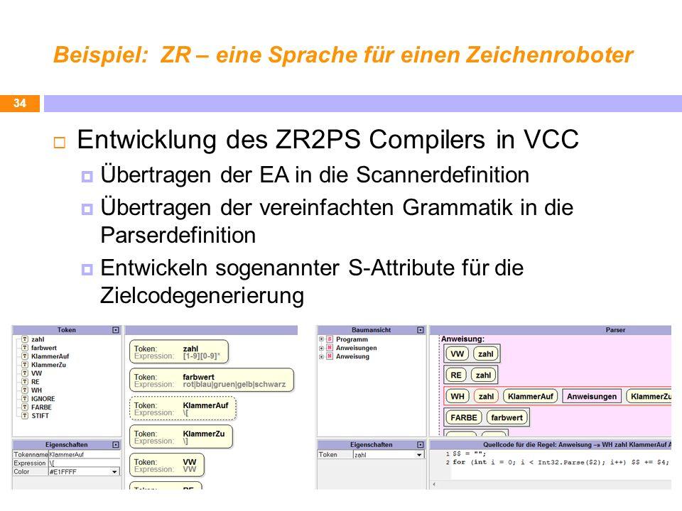 Beispiel: ZR – eine Sprache für einen Zeichenroboter Entwicklung des ZR2PS Compilers in VCC Übertragen der EA in die Scannerdefinition Übertragen der vereinfachten Grammatik in die Parserdefinition Entwickeln sogenannter S-Attribute für die Zielcodegenerierung 34
