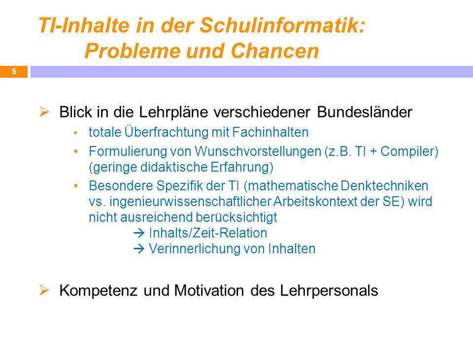 TI-Inhalte in der Schulinformatik: Probleme und Chancen Blick in die Lehrpläne verschiedener Bundesländer totale Überfrachtung mit Fachinhalten Formul