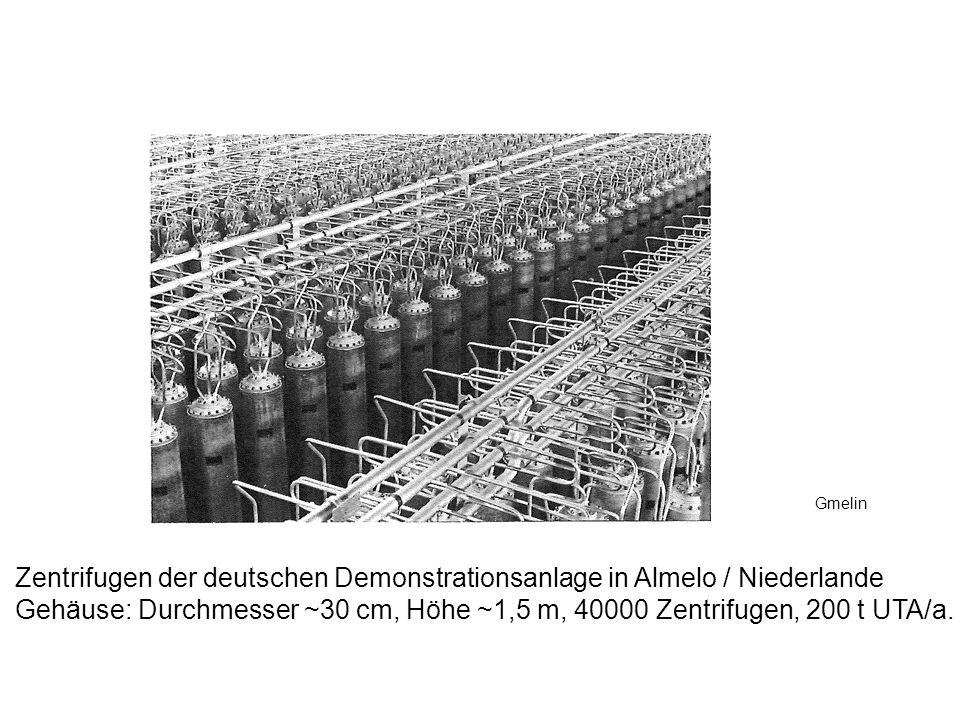 Zentrifugen der deutschen Demonstrationsanlage in Almelo / Niederlande Gehäuse: Durchmesser ~30 cm, Höhe ~1,5 m, 40000 Zentrifugen, 200 t UTA/a. Gmeli