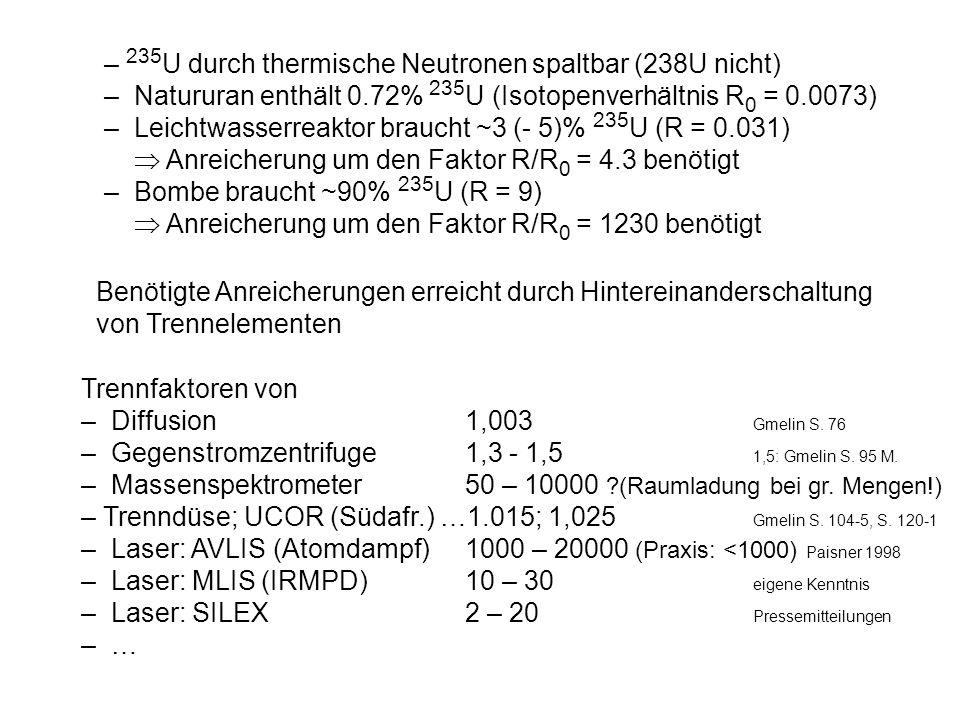 Vor-Ort-Inspektionen: – UF 6 -Handhabung, Isotopenzusammensetzung von U-haltigem Staub (wie sonst), – akustischer Lärm und elektrische Störungen der (Entladungs-) Laser mit hoher Wiederholfrequenz (>300 Hz) - verrohrte Strahlengänge, flüssig-Stickstoff-gekühlte Raman- Zelle, Kompressoren, Mischtanks und UF 6 -Abscheider (Kryotechnik) … Exportkontrolle: – gepulste CO 2- Laser ungewöhnlich hoher Wiederholfrequenz ( SLCR/Düren, SDI Lasers/Pretoria, Triniti/S.