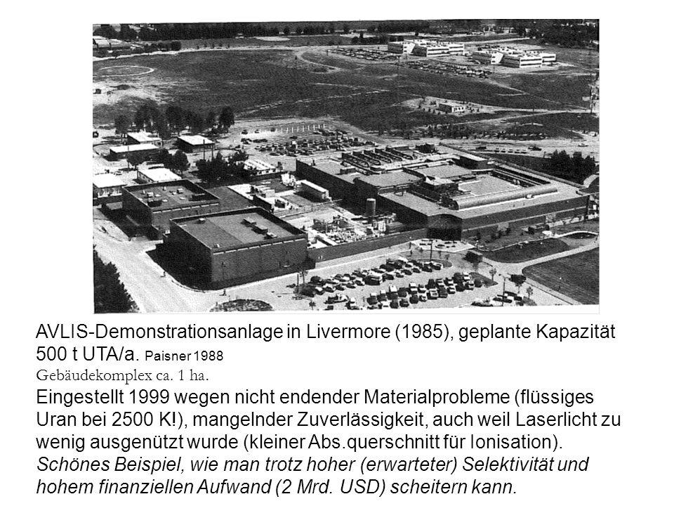 AVLIS-Demonstrationsanlage in Livermore (1985), geplante Kapazität 500 t UTA/a. Paisner 1988 Gebäudekomplex ca. 1 ha. Eingestellt 1999 wegen nicht end