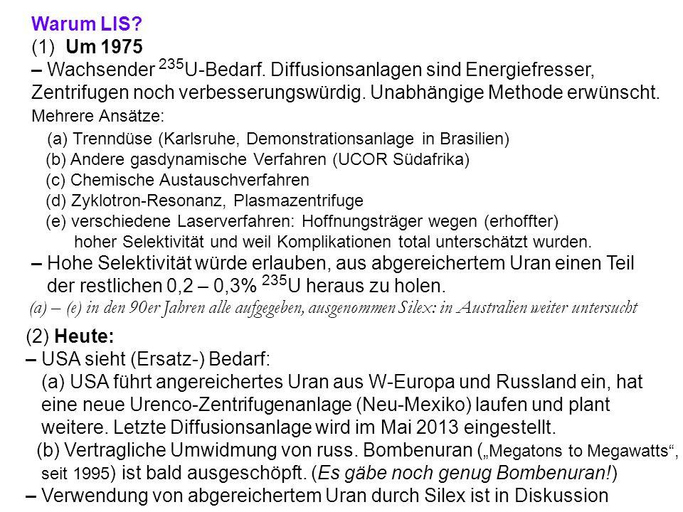 Warum LIS? (1) Um 1975 – Wachsender 235 U-Bedarf. Diffusionsanlagen sind Energiefresser, Zentrifugen noch verbesserungswürdig. Unabhängige Methode erw
