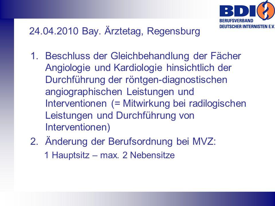 24.04.2010 Bay. Ärztetag, Regensburg 1.Beschluss der Gleichbehandlung der Fächer Angiologie und Kardiologie hinsichtlich der Durchführung der röntgen-