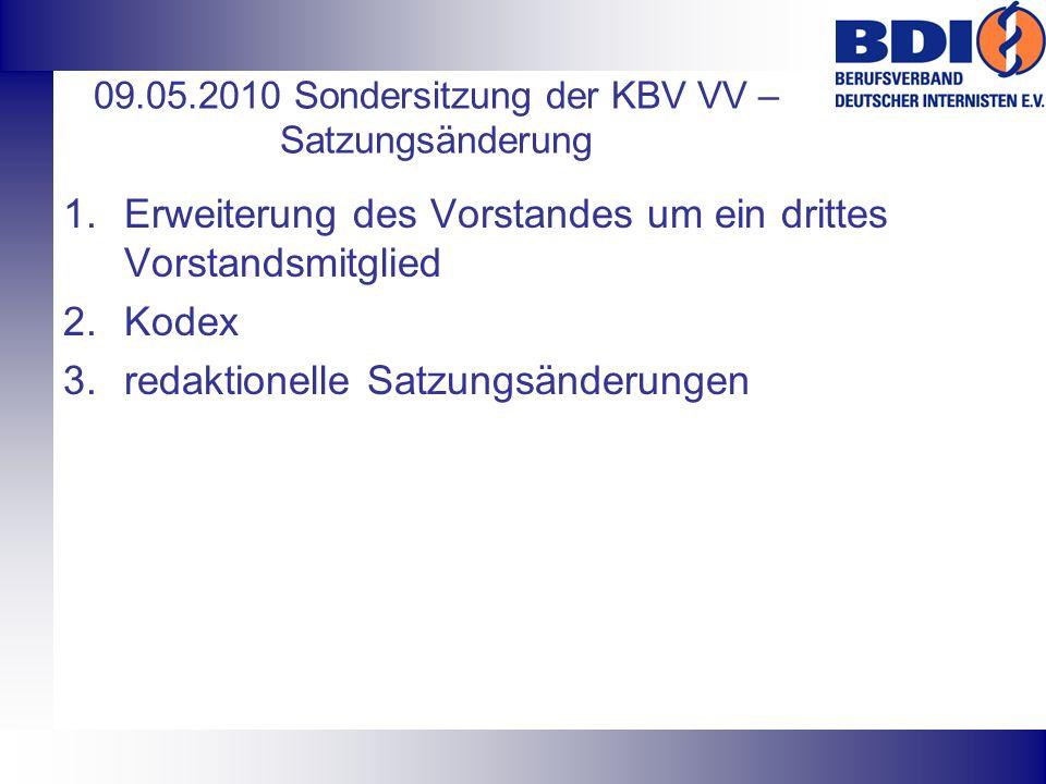 09.05.2010 Sondersitzung der KBV VV – Satzungsänderung 1.Erweiterung des Vorstandes um ein drittes Vorstandsmitglied 2.Kodex 3.redaktionelle Satzungsä