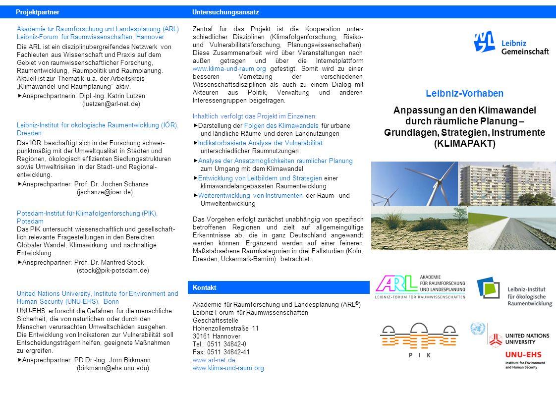 Geplante Ergebnisse Die im Rahmen des Projekts entwickelte Plattform www.klima-und-raum.org soll zur Vernetzung von Wissen- schaft und Praxis zum Umgang mit dem Klimawandel durch räumliche Planung beitragen und den Transfer von Wissen von der Forschung in die Praxis und von Praxiserfahrungen in die Wissenschaft anregen.